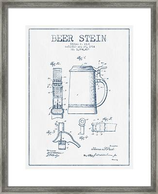 Beer Stein Patent From 1914 -  Blue Ink Framed Print by Aged Pixel