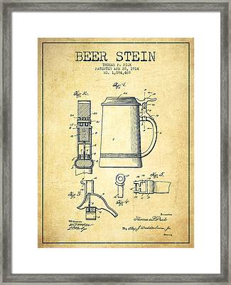 Beer Stein Patent From 1914 -vintage Framed Print by Aged Pixel