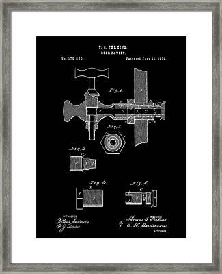Beer Tap Patent 1876 - Black Framed Print by Stephen Younts