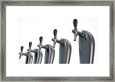 Beer Tap Row Isolated Framed Print by Allan Swart