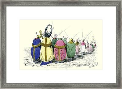 Beetles By J.j. Grandville Framed Print by Robert Jensen