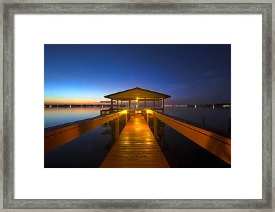 Before Dawn At The Dock Framed Print by Debra and Dave Vanderlaan