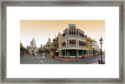 Before The Gates Open Early Morning Magic Kingdom With Castle. Framed Print by Thomas Woolworth