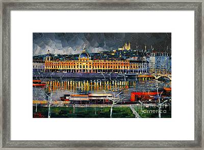 Before The Storm - View On Hotel Dieu Lyon And The Rhone France Framed Print by Mona Edulesco