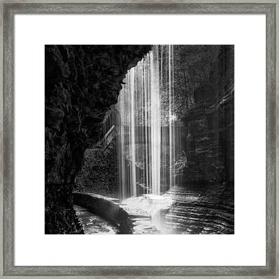 Behind The Falls Black And White Square Framed Print by Bill Wakeley