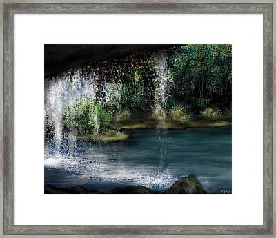 Behind The Falls Framed Print by Ron Grafe