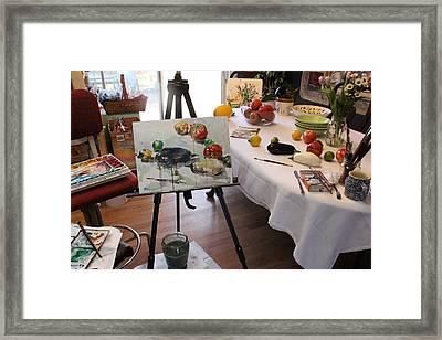 Behind The Scene - Eggplants And Fruits Framed Print by Becky Kim