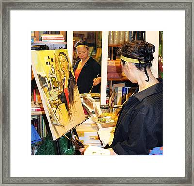 Behind The Scenes - Painting Self Portraits Framed Print by Becky Kim