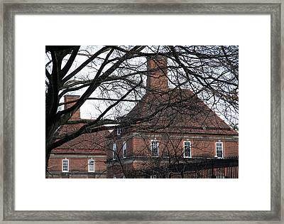 Behind Trees -- The British Ambassador's Residence Framed Print by Cora Wandel