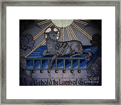 Behold The Lamb Of God Stained Glass Church Window  Framed Print by Inspired Nature Photography Fine Art Photography