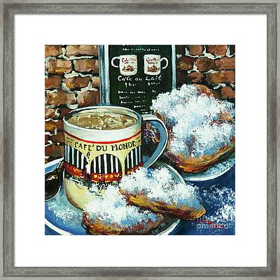 Beignets And Cafe Au Lait Framed Print by Dianne Parks
