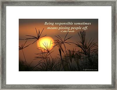 Being Responsible  Framed Print by Pharaoh Martin