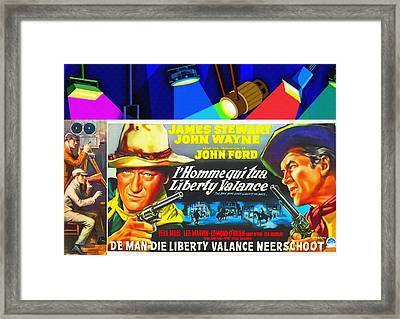 Belgian Poster Of The Man Who Shot Liberty Valance Framed Print by Art Cinema Gallery