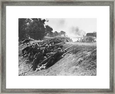 Belgian Soldiers In Ambush Framed Print by Underwood Archives