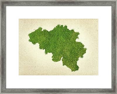 Belgium Grass Map Framed Print by Aged Pixel