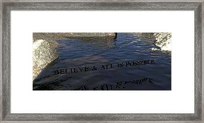Believe And All Is Possible Framed Print by James Barnes