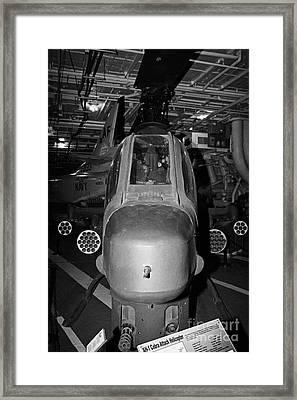 Bell Ah 1 Ah1 Cobra On The Hangar Deck Of The Intrepid Sea Air Space Museum Framed Print by Joe Fox