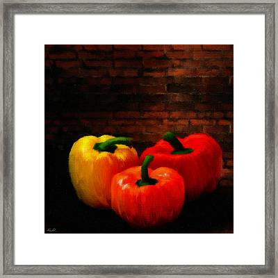 Bell Peppers Framed Print by Lourry Legarde