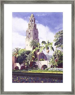 Bell Tower In Balboa Park Framed Print by Mary Helmreich