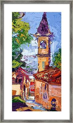Bell Tower In Italy Framed Print by Ginette Callaway