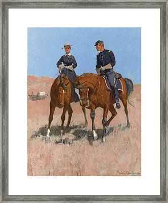 Belle Mckeever And Lt Edgar Wheelock Framed Print by Frederic Remington
