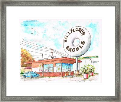 Bellflower Bagels In Bellflower - California Framed Print by Carlos G Groppa