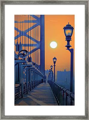 Ben Franklin Bridge Walkway Framed Print by Bill Cannon