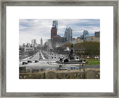Ben Franklin Parkway Framed Print by Eric Nagy