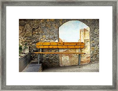 Bench In Riomaggiore Framed Print by Prints of Italy