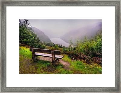 Bench Over The Upper Lake. Glendalough. Ireland Framed Print by Jenny Rainbow