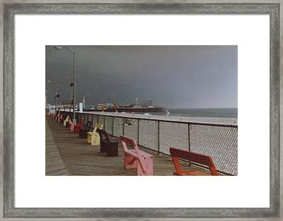 Benches Of Seaside Heights Nj Framed Print by Joann Renner
