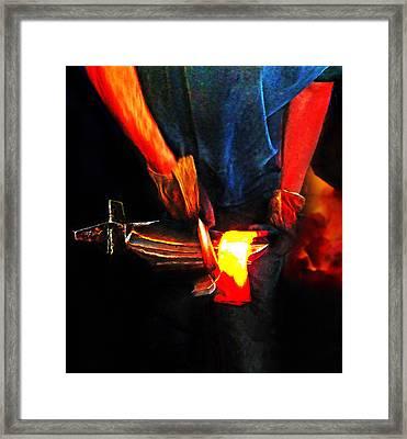 Bending Hot Steel Framed Print by Terril Heilman