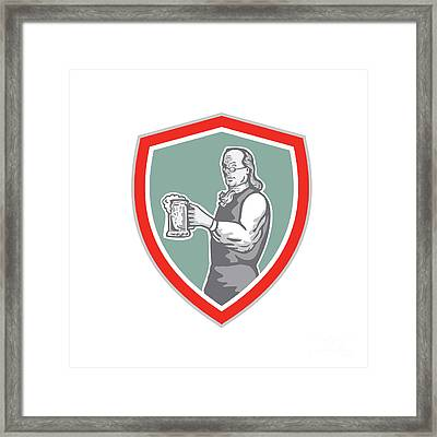 Benjamin Franklin Holding Beer Shield Retro Framed Print by Aloysius Patrimonio