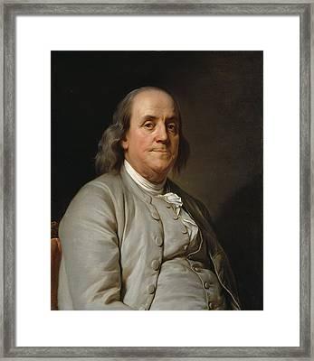 Benjamin Franklin Framed Print by Joseph-Siffred Duplessis