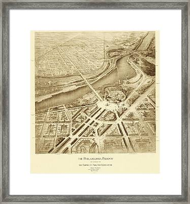 Benjamin Franklin Parkway Plans Framed Print by American Philosophical Society