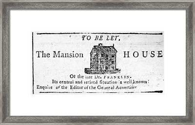 Benjamin Franklin's House Framed Print by Granger
