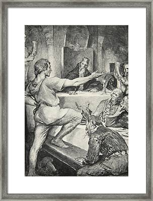 Beowulf Replies Haughtily To Hunferth Framed Print by John Henry Frederick Bacon