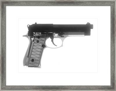 Beretta 9mm X-ray Photograph Framed Print by Ray Gunz