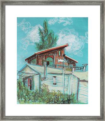 Berkeley Neighbor Houses On A Sunny Day Framed Print by Asha Carolyn Young