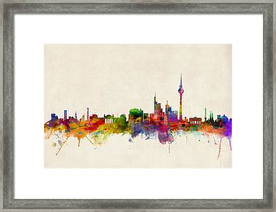 Berlin City Skyline Framed Print by Michael Tompsett