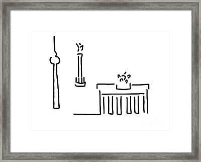 Berlin Gate Tower Framed Print by Lineamentum