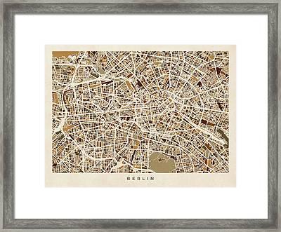 Berlin Germany Street Map Framed Print by Michael Tompsett
