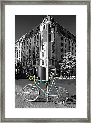 Berlin Street View With Bianchi Bike Framed Print by Ben and Raisa Gertsberg