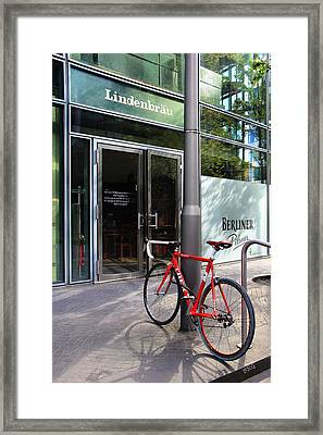 Berlin Street View With Red Bike Framed Print by Ben and Raisa Gertsberg