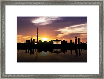 Berlin Sunset Skyline  Framed Print by Aged Pixel