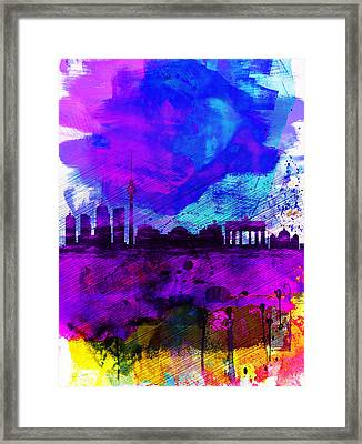 Berlin Watercolor Skyline Framed Print by Naxart Studio