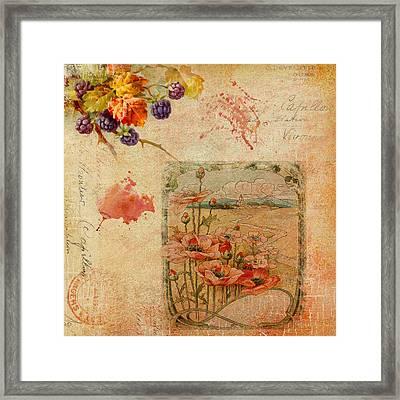 Berries And Poppies Framed Print by Melinda Dreyer