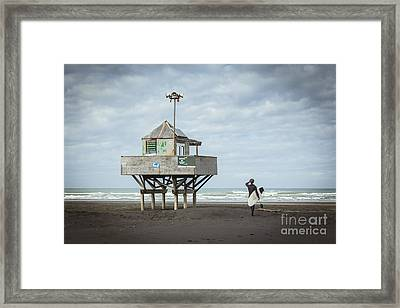 Bethells Beach New Zealand Lifeguard Tower And Surfer  Framed Print by Colin and Linda McKie