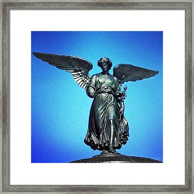 Bethesda Fountain Angel Central Park Ny Framed Print by Kathleen Anderle