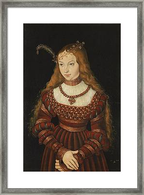 Betrothal Portrait Of Sybille Of Cleves, 1526-7 Oil On Panel Framed Print by Lucas, the Elder Cranach